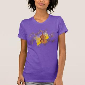 Violinen-GoldMusiknoten-Strudel-lila T - Shirt