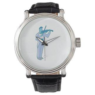 Violinist-männliche Zahl abstraktes blue.png Armbanduhr