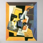 Violon et verre par Juan Gris, cubisme vintage Poster