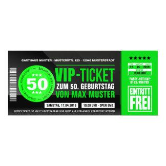 VIP-TICKET des cartes d'invitation (vert) Carton D'invitation 10,16 Cm X 23,49 Cm
