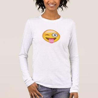 Visage avec coincés la langue et l'oeil Emoji de T-shirt À Manches Longues