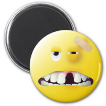 Visage de smiley de photo de détenu magnet rond 8 cm