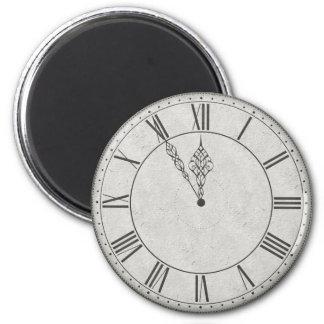 Visage d'horloge de chiffre romain B&W Magnet Rond 8 Cm