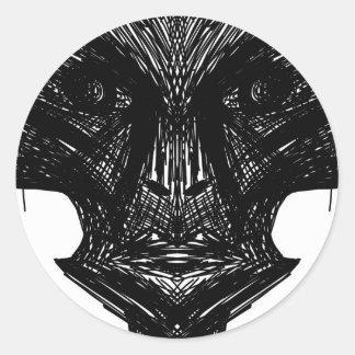 Visage d'illustration sticker rond