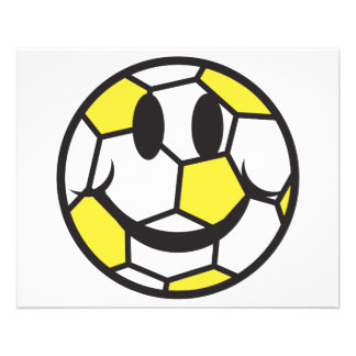 visage jaune de smiley de ballon de football prospectus 11,4 cm x 14,2 cm