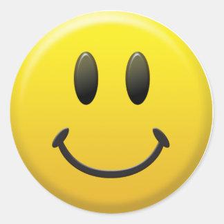 Visage souriant heureux sticker rond