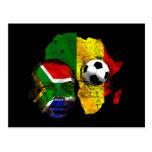 Visage sud-africain de drapeau d'amants du footbal carte postale