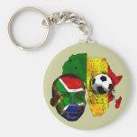 Visage sud-africain de drapeau d'amants du footbal porte-clé