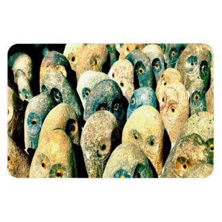 Visages frais de hibou de pierre de roche avec des magnet souple