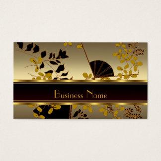Visitenkarte-Vintager Blumengoldschwarz-Asiat Visitenkarte