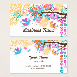 Visitenkarte - Vögel, Blumenbackgraound