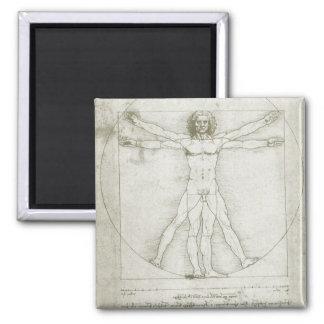 Vitruvian Mann durch Leonardo da Vinci Quadratischer Magnet