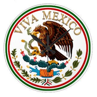 Viva Mexiko Flagge-Ikone mit Goldtext Große Wanduhr