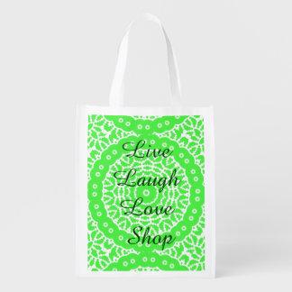 Vivant, rire, amour, magasin sacs d'épicerie