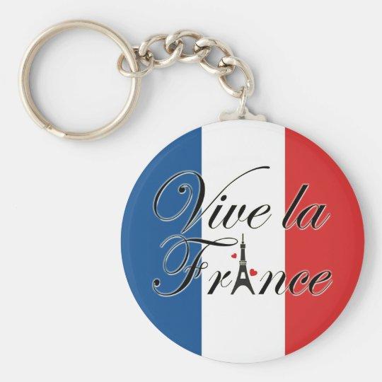 Vive La Frankreich-Typografie Standard Runder Schlüsselanhänger