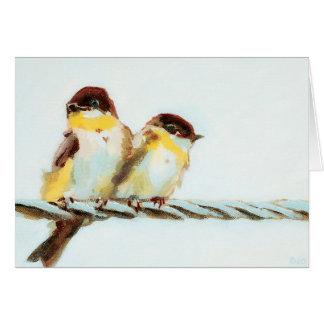 Vögel auf einem Draht kundengerecht Karte