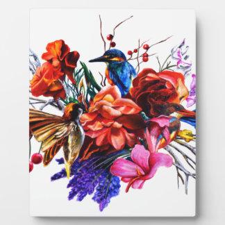 Vogel-Blumenstrauß Fotoplatte