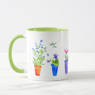 Vögel, Blüten und Flowerpots Tasse