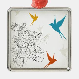 Vögel ein flower2 silbernes ornament