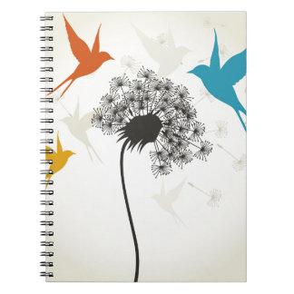 Vögel ein flower3 spiral notizblock