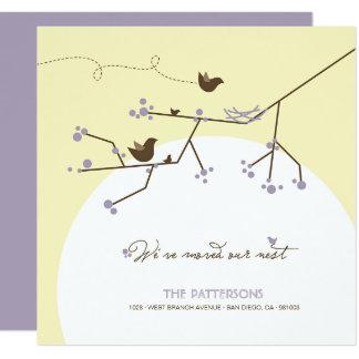 Vogel-Familien-Nest-Baum-Zuhause-bewegliche Quadratische 13,3 Cm Einladungskarte