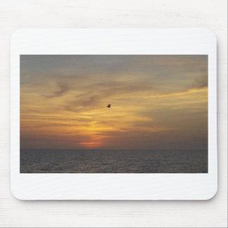Vogel-Fliegen über dem Ozean am Sonnenuntergang Mousepads