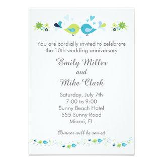 Vogel-Hochzeits-Jahrestags-Einladungs-aquamarines Karte