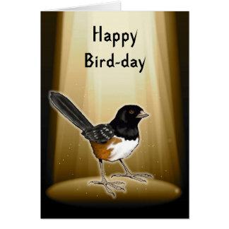 Vogel im Scheinwerfer, glücklicher Vogel-Tag, Karte