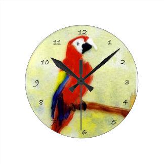 Vogel-Kunstbunter Macaw-Papagei Runde Wanduhr