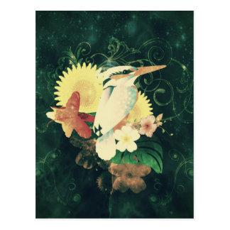 Vogel mit Blumen Postkarte