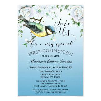 Vogel-Natur-erste Kommunions-Einladungs-blaues 12,7 X 17,8 Cm Einladungskarte