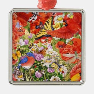 Vögel, Schmetterlinge und Bienen-Verzierung Quadratisches Silberfarbenes Ornament