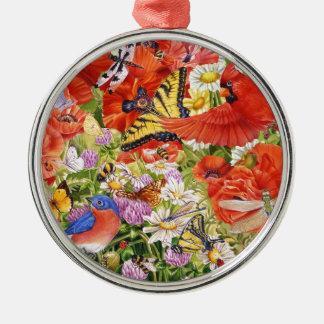 Vögel, Schmetterlinge und Bienen-Verzierung Silbernes Ornament
