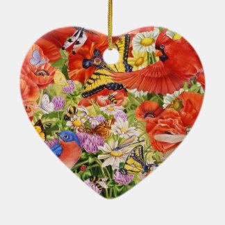 Vogel-, Schmetterlings-und Bienen-Herz-Verzierung Keramik Herz-Ornament