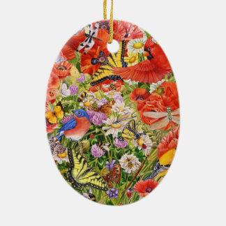 Vogel-, Schmetterlings-und Bienen-ovale Keramik Ornament