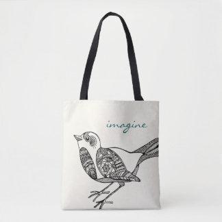 Vogel-Tasche in Schwarzem und in aquamarinem Tasche