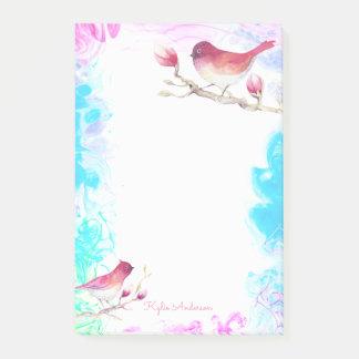 Vögel u. rosa aquamarines Blau | des Post-it Klebezettel