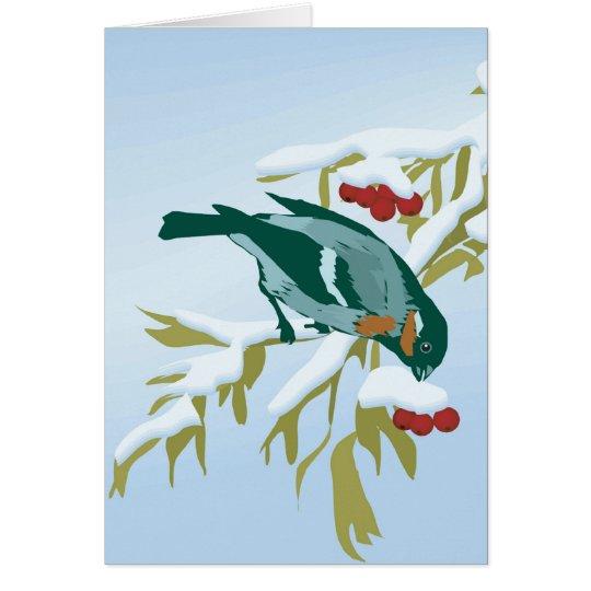 Vogel und Beeren Grußkarte