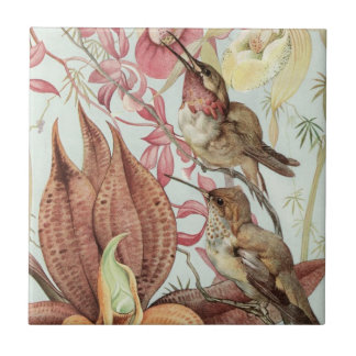 Vögel und Blumen Kleine Quadratische Fliese