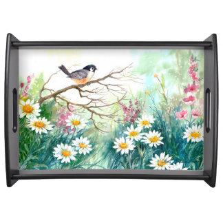 Vögel und Blumen-Serviertablett Serviertablett