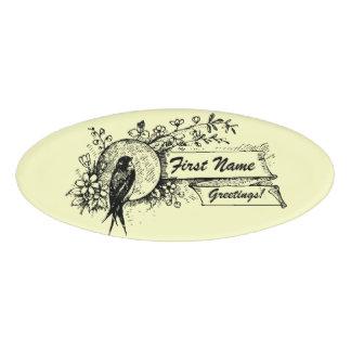 Vogel und empfindliches Blumenmuster mit Namenschild