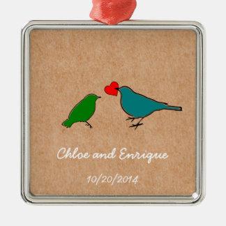 Vögel und Liebe-Herz-niedliche personalisierte Silbernes Ornament