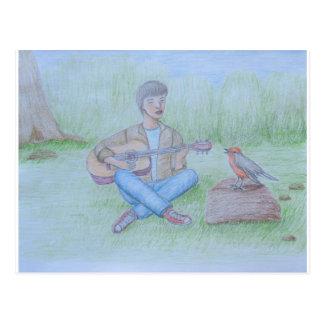Vogel- und Mann-Gesang Postkarte