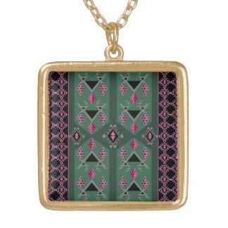 Vögel und Trauben grün und rosa kilim Muster Vergoldete Kette