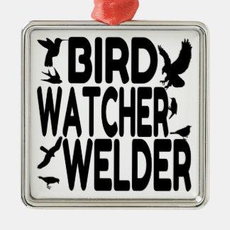 Vogelbeobachter-Schweißer Quadratisches Silberfarbenes Ornament