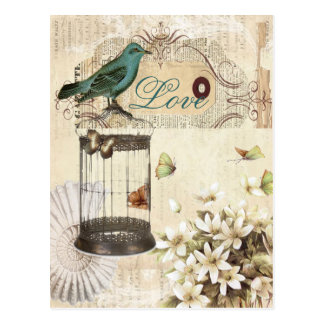 Vogelkäfig Vintage Blumenparis-Mode Postkarten
