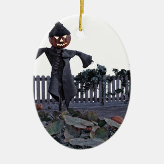 Vogelscheuche des Jack-O in einem Kürbis-Flecken Keramik Ornament