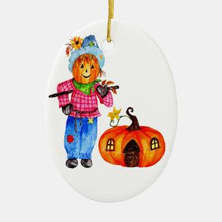Vogelscheuche, die Halloween-Kürbis schützt Keramik Ornament