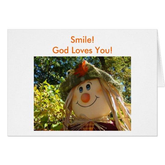 Vogelscheuche, Lächeln! Gott-Lieben Sie! Grußkarte