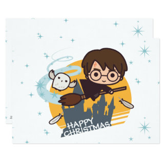 Vol de Harry et de Hedwig après Noël de Hogwarts Carton D'invitation 12,7 Cm X 17,78 Cm